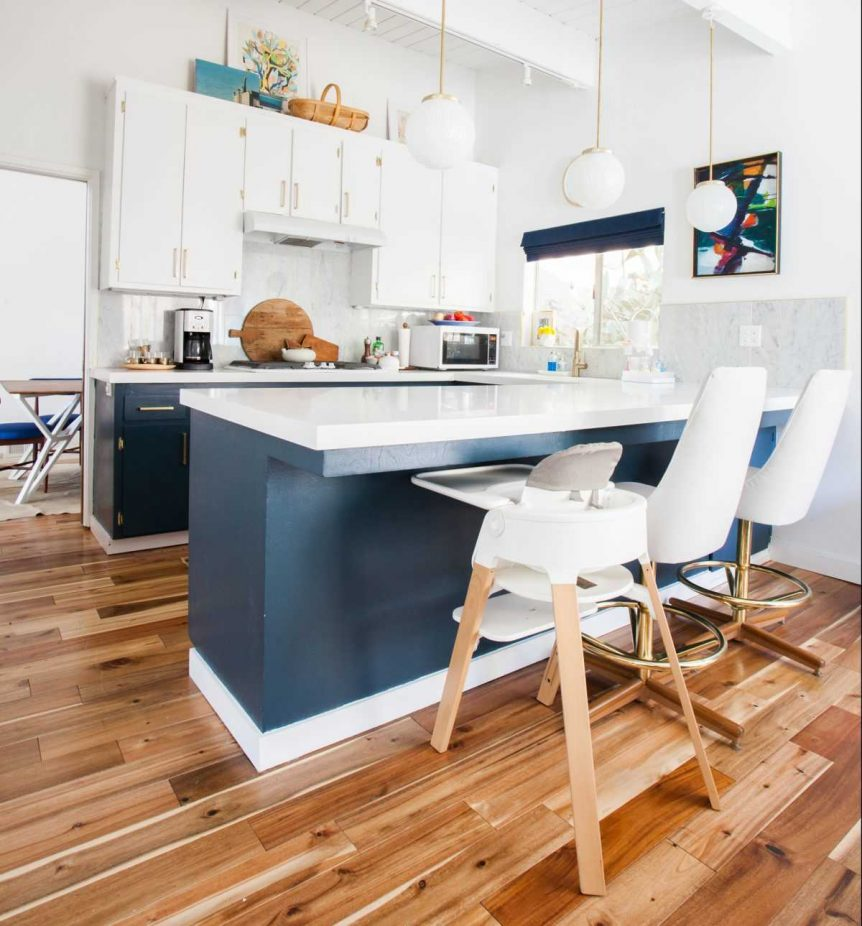 home remodeling trends: gold cabinet hardware-kitchen_after_everyday-living-blue-white-brass